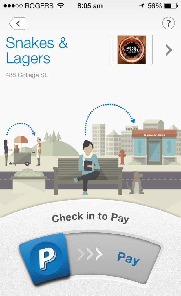 Check in to pay Snakes & Lagers